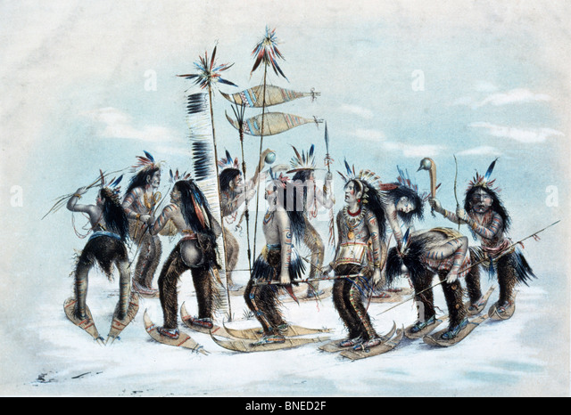 The Snow-Shoe Dance, from Currier & Ives, color lithograph, (1834-1907), USA, Washington DC, Library of Congress - Stock-Bilder
