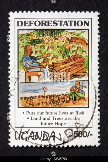 Ugandan postage stamp - Stock Image