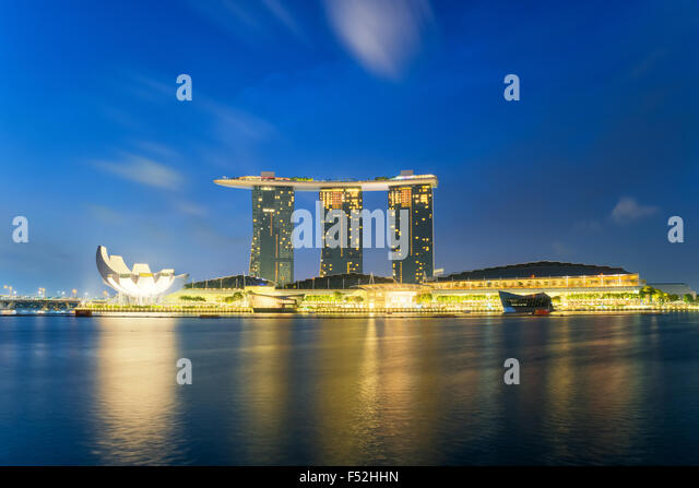 Beautiful sunrise in Marina bay at Singapore - Stock Image