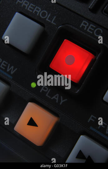 Macro shot of the Play and Record buttons - Stock-Bilder