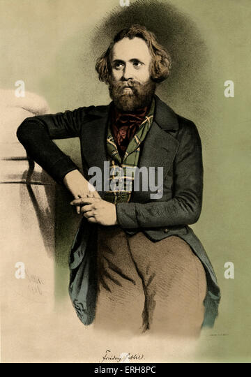 Friedrich Hebbel  - from print after portrait by E. Kaiser, 1846.  CFH: German poet and dramatist, 18 March 1813 - Stock Image
