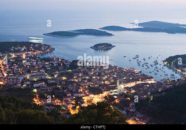 Panoramic view to Hvar at dusk, Croatia - Stock Image