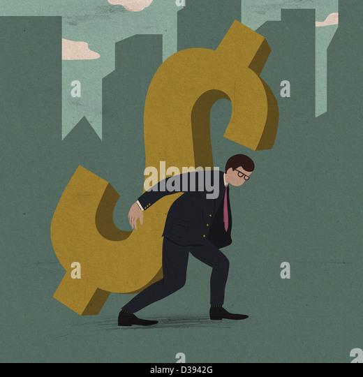 Businessman carrying the burden of business debt - Stock-Bilder