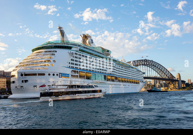 Sydney Australia NSW New South Wales Sydney Harbour Bridge harbor Voyager of the Seas cruise ship Circular Quay - Stock Image