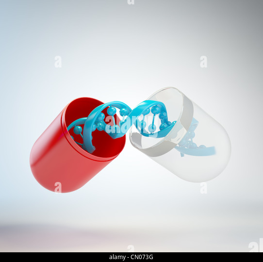 DNA inside a pill - gene therapy concept - Stock-Bilder