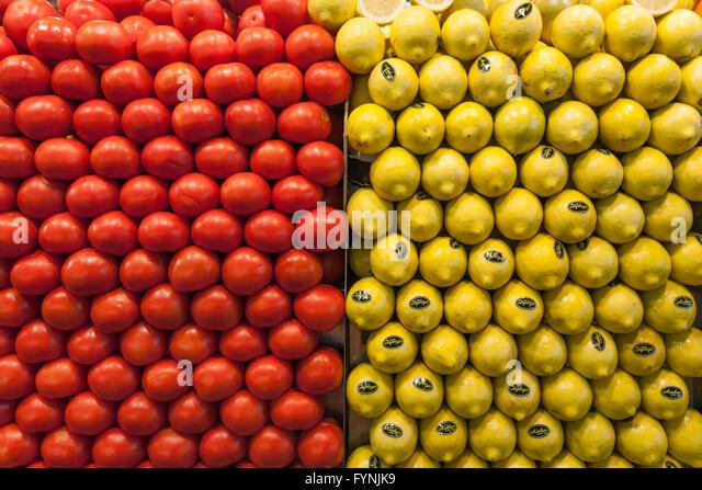 La Boqeria Market Fruits Food Shopping Barcelona - Stock Image