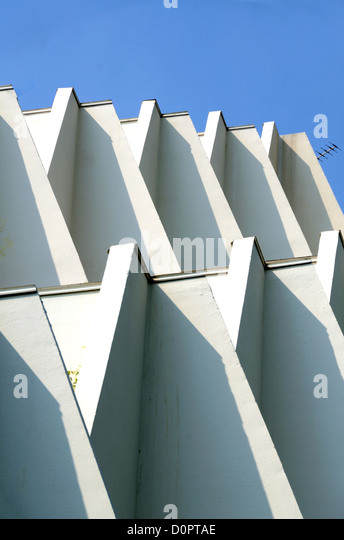 Geometric Patterns of Le Babylone (1969) Modernist Apartments by Henri Castella La Grande-Motte Hérault France - Stock Image