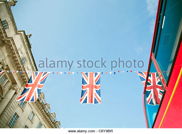 Union Jack flags hanging in London - Stock-Bilder