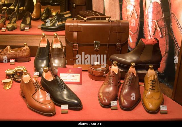 Palme de Mallorca shop window luxery shoes - Stock Image