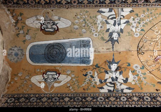 Myanmar, Burma, Amarapura, Kyauktawgyi Pagoda, fresco, - Stock-Bilder