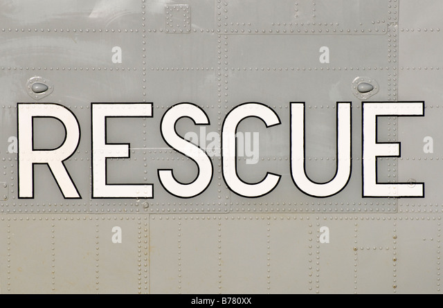 Rescue marking on the fuselage of a Sea King 'search and rescue' helicopter - Stock Image