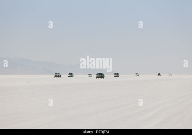 Bonneville Salt Flats Utah USA Cars driving on Bonneville Salt Flats Speed Week - Stock Image