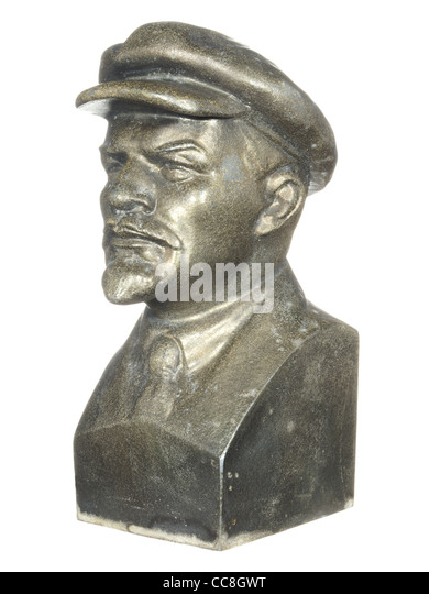 Old bronze bust of Lenin isolated on white background. - Stock-Bilder