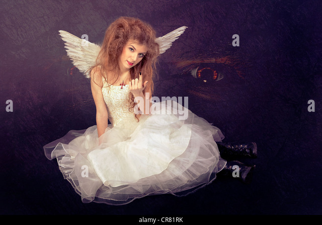 False angel leading to temptation - Stock Image