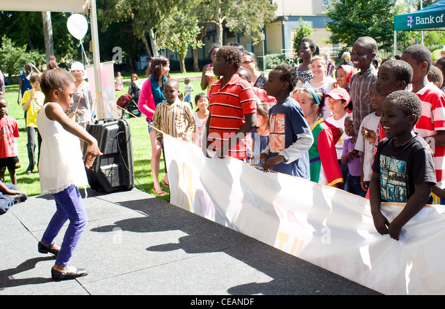 Children of mixed cultures, festival in Fitzroy melbourne victoria australia - Stock-Bilder