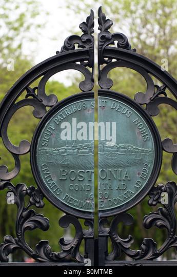 A copper plaque in the public gardens Boston MA. - Stock Image