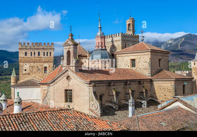 View of historic building roofs of Guadalupe, Caceres, Extremadura, Spain - Stock Image