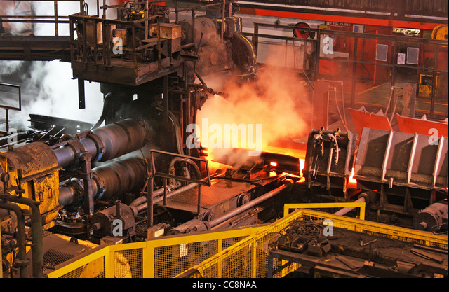 Steel rolling mill. - Stock Image