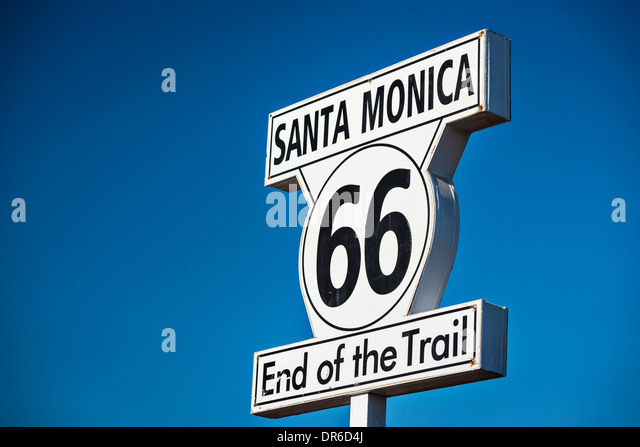 Route 66 End of Trail road sign in Los Angeles, California. - Stock-Bilder