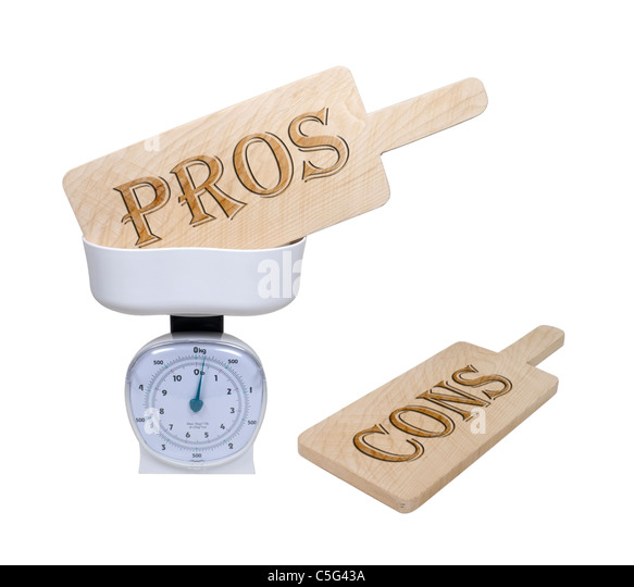Weighing pros and cons shown by pro and con wooden signs in a basket scale - path included - Stock Image