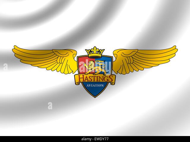 Hastings Aviation logo icon flag symbol emblem sign - Stock Image