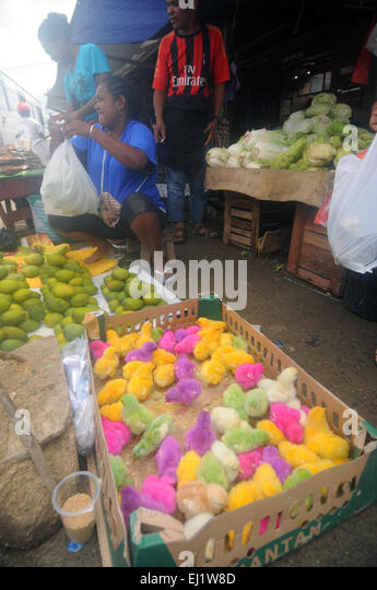 Artificially coloured baby chickens available for sale in the market, Sorong, West Papua, Indonesia. No MR or PR - Stock Image