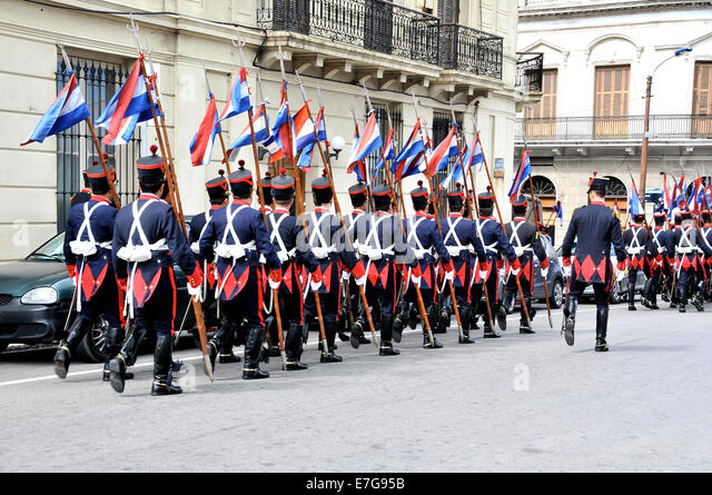 guards parade in street of Montevideo Uruguay - Stock Image