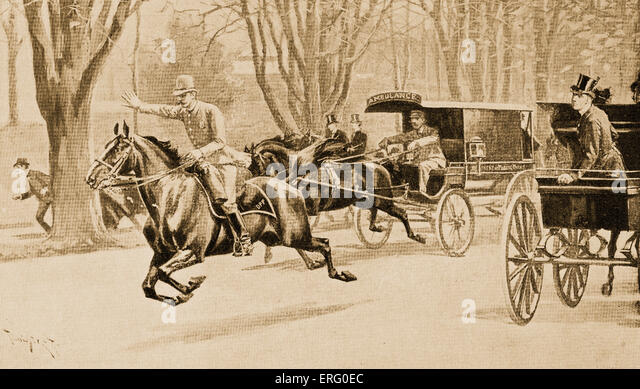 An accident in Central Park, New York, America, Policeman on horseback makes way for the ambulance carriage. Late - Stock Image
