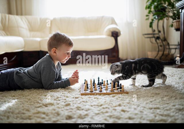 little boy plays chess lying on floor - Stock Image