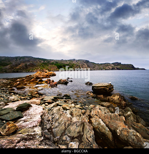Scenic coastal view of rocky Atlantic shore in Newfoundland, Canada - Stock Image