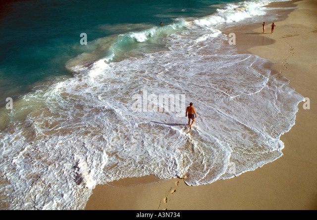 Barbados Beach on the Atlantic coast near Sam Lords Castle - Stock Image