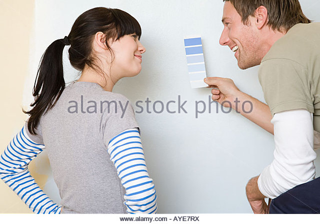 Couple with colour chart - Stock Image
