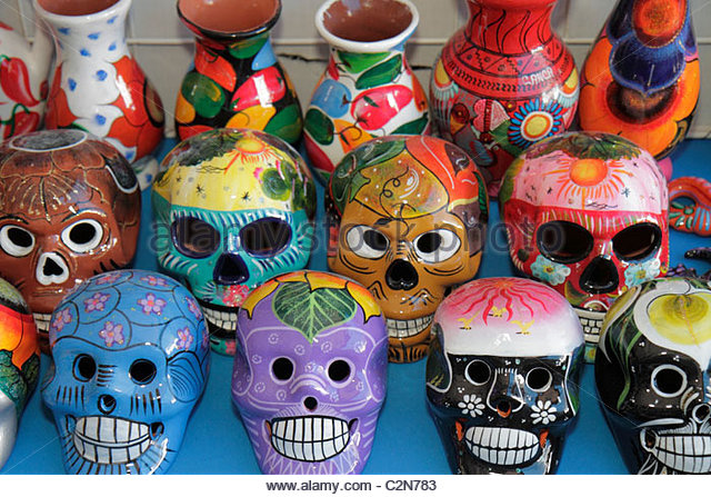 Cancun Mexico Yucatán Peninsula Quintana Roo business Mercado 28 souvenirs shopping vendor stall clay masks - Stock Image