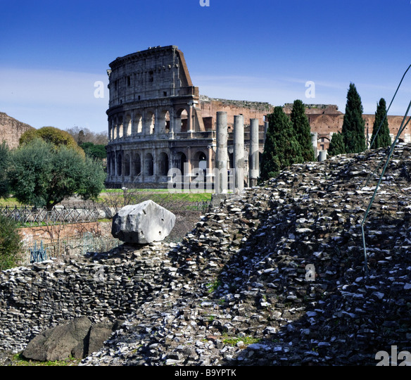 Ancient Rome: Colosseum, Rome, from Via Sacra - Stock Image