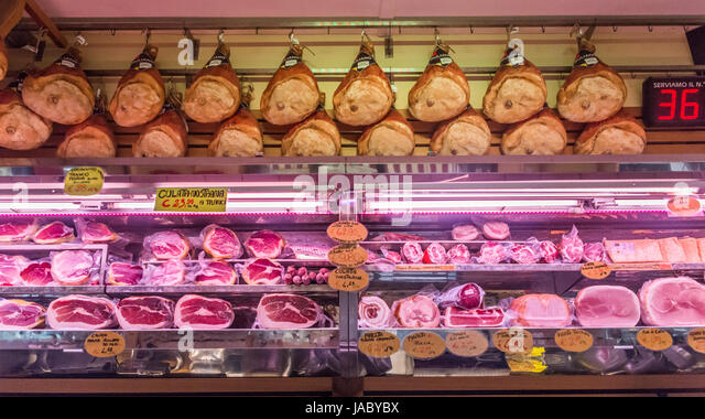 Butcher shop in Parma, Italy - Stock Image