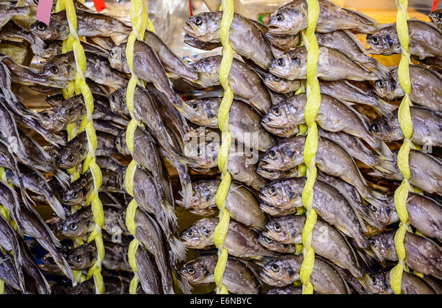 dried fish at gwangjang market in seoul, south korea - Stock Image