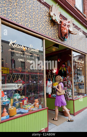 Canada, Quebec Province, Montreal, the Plateau Mont Royal, Saint Laurent Boulevard, the Main, Kitsch'n Swell - Stock Image