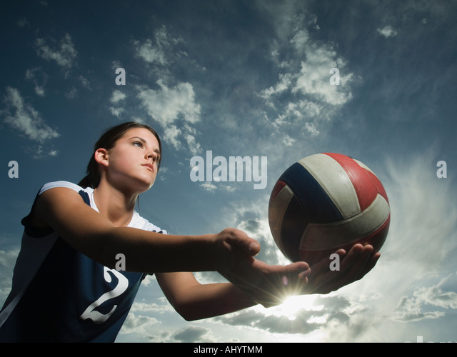 Low angle view of volleyball player - Stock Image