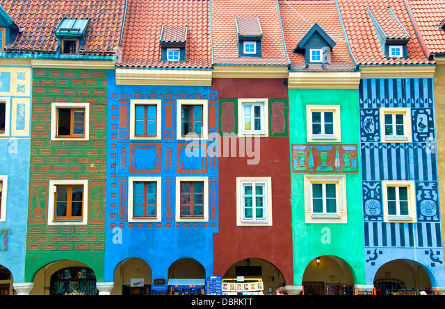 Colourful Houses, Poznan, Poland - Stock Image