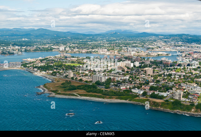 An aerial view of Victoria on Vancouver Island in Canada - Stock Image