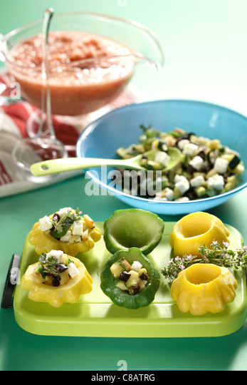 Stuffing the squash melons - Stock Image
