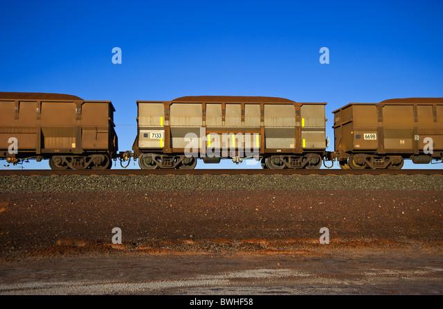 Iron Ore train Pilbara Western Australia - Stock Image