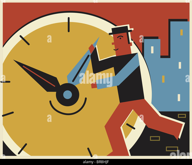 A man changing the time on a clock - Stock Image