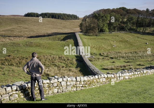 England UK Hexham Hadrians Hadrian's Wall Housesteads Roman Fort National Trust built AD122 - Stock Image