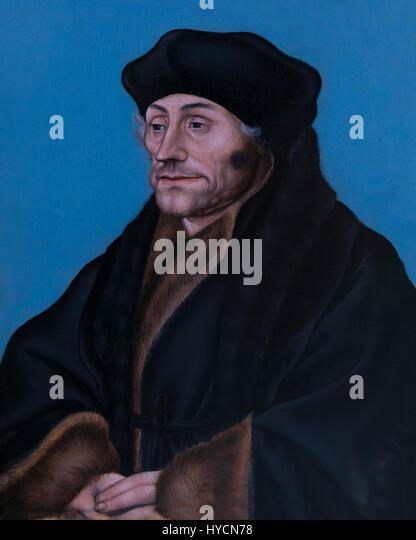 Portrait of Desiderius Erasmus, by Lucas Cranach the Elder, circa 1530-1536, Boijmans van Beuningen Museum, Rotterdam, - Stock Image