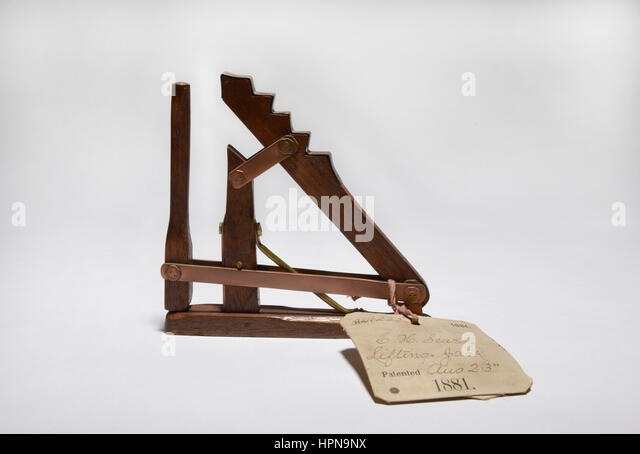 Patent model.  Lifting Jack.  Invented by C. H. Sears and patented Aug. 23, 1881. - Stock Image