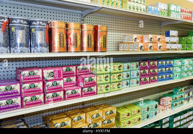 Orlando Chinatown Florida Health Food City health market Oriental alternative medicine pharmacy shelf retail display - Stock Image