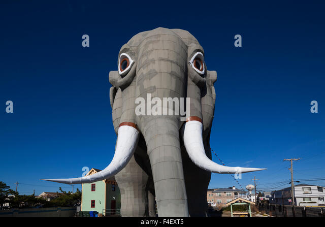 USA, New Jersey, Margate, Lucy the Elephant, beachfront elephant sculpture - Stock Image