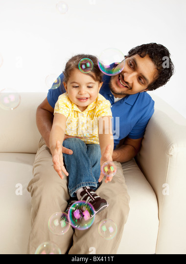 A Father With His Young Daughter - Stock Image