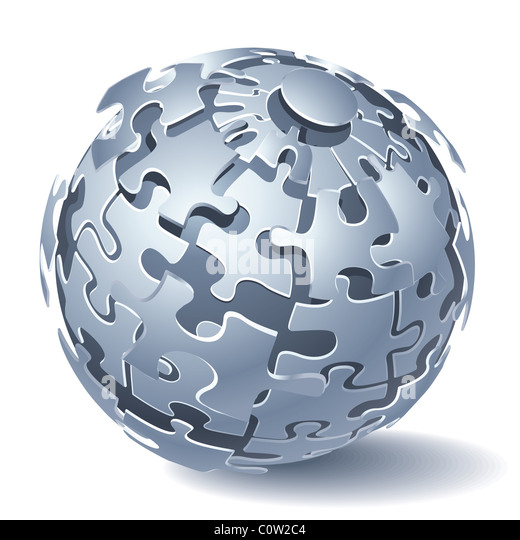 Jigsaw puzzle sphere - Stock Image